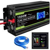 RRP £163.00 Novopal Power Inverter Pure Sine Wave-1500 Watt 12V DC to 230V/240V AC Converter-LCD D