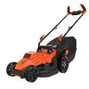 RRP £138.00 BLACK+DECKER BEMW461BH-QS 1400W Electric Lawnmower 34cm 6 Adjustable Heights 20, 30, 4