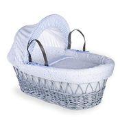 RRP £84.00 Clair de Lune Stars and Stripes Grey Wicker Moses Basket inc. bedding, mattress & adju