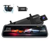 RRP £60.00 10'' Mirror Dash Cam Night Vision 1080P FHD Full Touch Screen Front and Rear View Mirr