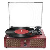 RRP £55.00 Vinyl Record Player Bluetooth Turntable with Built-in Speakers and USB Belt-Driven Vin