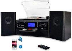 RRP £144.00 DIGITNOW! Bluetooth Viny Record Player, Turntable for CD, Cassette, AM/FM Radio and Au