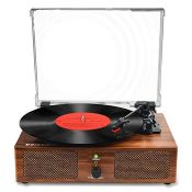 Vinyl Record Player Bluetooth Turntable with Built-in Speakers and USB Belt-Driven Vin