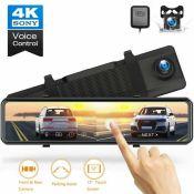 RRP £130.00 TOGUARD 12 4K Mirror Dash Cam GPS Voice Control Rearview Dual Lens Camera Full Touc