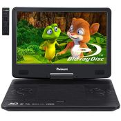 """RRP £242.00 NAVISKAUTO 14"""" Portable Blu Ray DVD Player with Rechargeable Battery,HDMI Input/Output"""