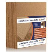 20x Natural Cork Tiles | 300mm x 300mm | 1.80 sqm | 4mm Thick | Wall, Floor, Insulatio
