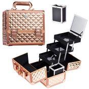 Joligrace Makeup Box Cosmetics Case Jewelry Organiser Vanity Make Up Storage Boxes wit