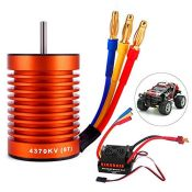 Yofuly Upgrade Waterproof 60A ESC Combo Set with 4370KV 9T Brushless Motor for 1/10 RC