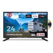 RRP £204.00 Ferguson 12 volt F2420RTSF-12v 24 inch Smart LED TV/DVD Download Apps Netflix, Black