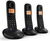 BT Everyday Cordless Home Phone with Basic Call Blocking, Trio Handset Pack, Black