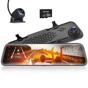 """RRP £112.00 WOLFBOX 12"""" Mirror Dash Cam Front and Rear Camera, 1920P Car Camera with Stream Media"""