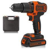 BLACK+DECKER 18 V Cordless 2-Gear Combi Hammer Drill Power Tool with Kitbox, 1.5 Ah Li