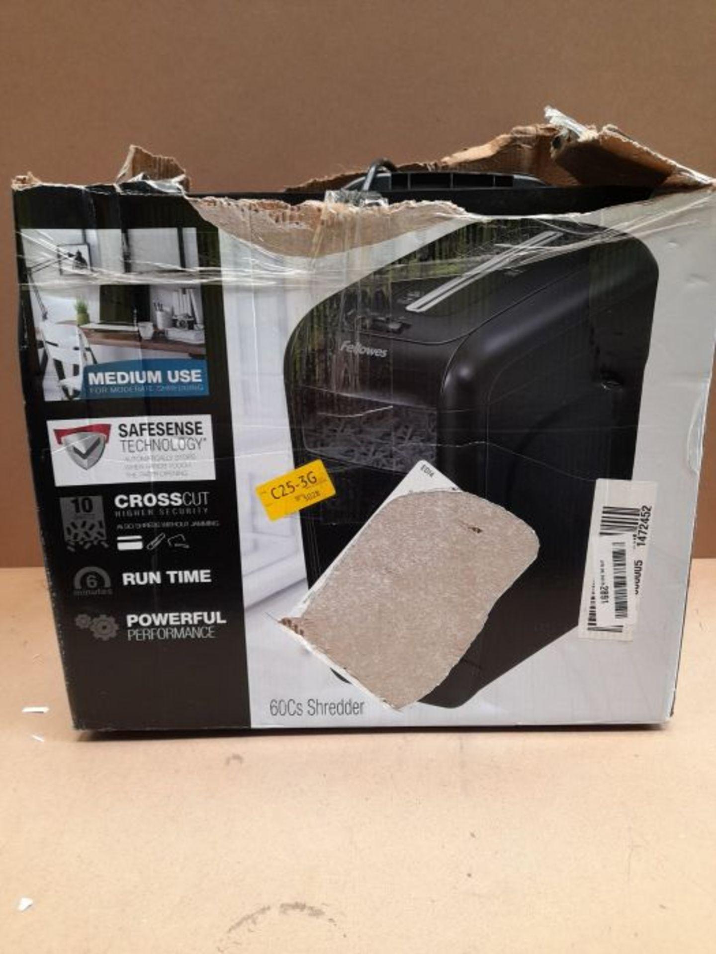 RRP £51.00 Fellowes Powershred 60Cs, 10 Sheet Cross Cut Paper Shredder for the Home or Home Offic - Image 2 of 3