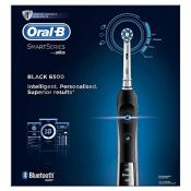RRP £93.00 Oral-B SmartSeries Black 6500 CrossAction Electric Toothbrush, 1 App Connected Handle,