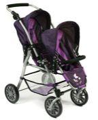 RRP £94.00 Bayer Chic 2000 691 25 Tandem Dolls Buggy Twinny Plum Purple