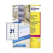 Avery Self Adhesive Clear Address Mailing Labels, Laser Printers, 21 Labels Per A4 She
