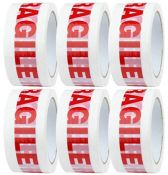 6 Rolls Low Noise 48mm x 66m Fragile Printed Packaging Tape for Packing Parcels, Cardb