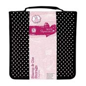 docrafts Papermania Stamp and Die Black Polka Dot Storage Case with 10 Pockets Contain