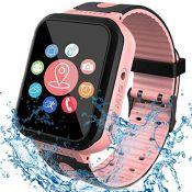 [IP68 Waterproof] Smart Watch for Kids, GPS Tracker Watch with SOS Alarm Clock Game To
