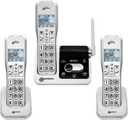 RRP £186.00 Geemarc Amplidect 595 Amplified Cordless Phone + TWO Extra Cordless Handset - Home Pho