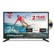 RRP £198.00 Ferguson F2420RTSF 24 inch Smart LED TV/DVD Download Apps Netflix, Black