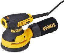 RRP £85.00 DEWALT DEWDWE6423L Random Orbital Sanders, Yellow/Black (100V Industrial Plug)
