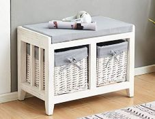 RRP £84.00 Home Source Wooden Hallway Bench Seat 2 Basket Pull-Out Storage, White, Grey Cushioned