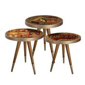RRP £60.00 Bhome Nesting Tables Set of 3 Coffee Side End Lamp Sofa Table for Living Room Round Vi