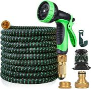 100ft Expandable Garden Hose with 10 Function Spray Nozzle, Lightweight Hose Pipe with