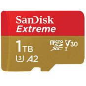 RRP £280.00 SanDisk Extreme 1 TB microSDXC Memory Card + SD Adapter with A2 App Performance + Resc