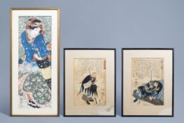 Two Japanese Ukiyo-e woodblock prints and a painting on paper, 19th/20th C.