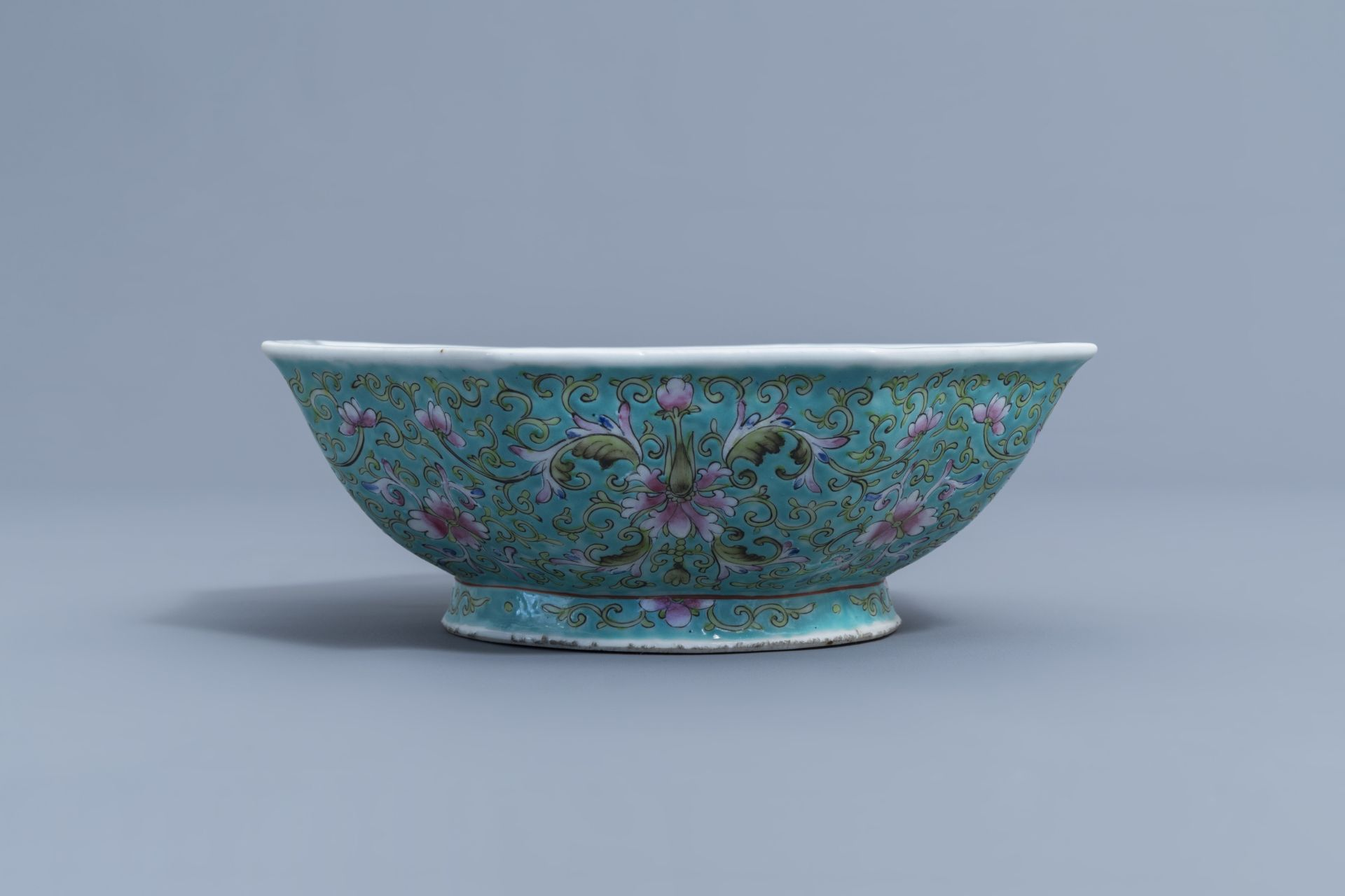 Two Chinese famille rose jardinires and a bowl with floral design, 20th C. - Image 11 of 15