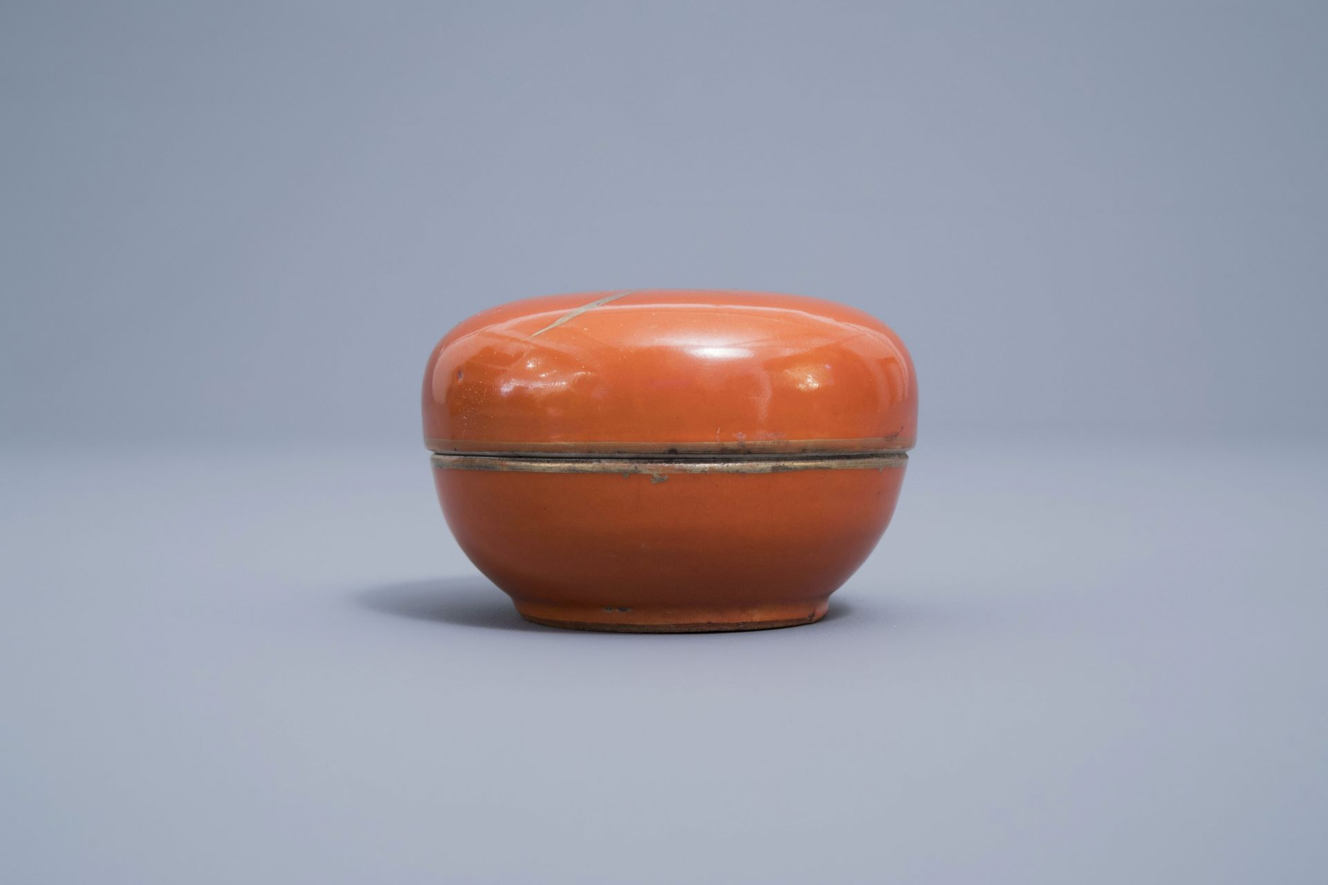 A Chinese four-part gilt decorated coral ground scholar's set, Republic, 20th C. - Image 11 of 22