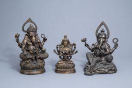 Three large Indian bronze figures depicting Ganesha and Shiva, 20th C.