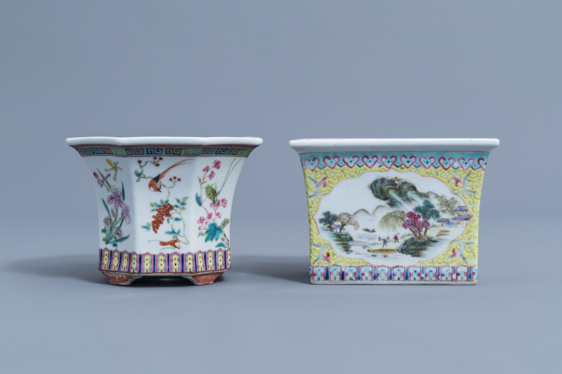 Two Chinese famille rose jardinires and a bowl with floral design, 20th C. - Image 2 of 15