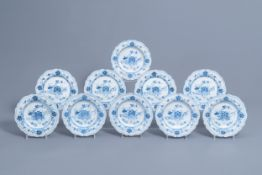 Six Italian blue and white deep plates and four flat plates, Ferniani, Milan, 18th C.