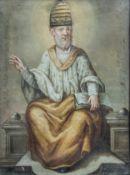 Italian school: Pope Sylvester I, mixed media on canvas, 18th C.