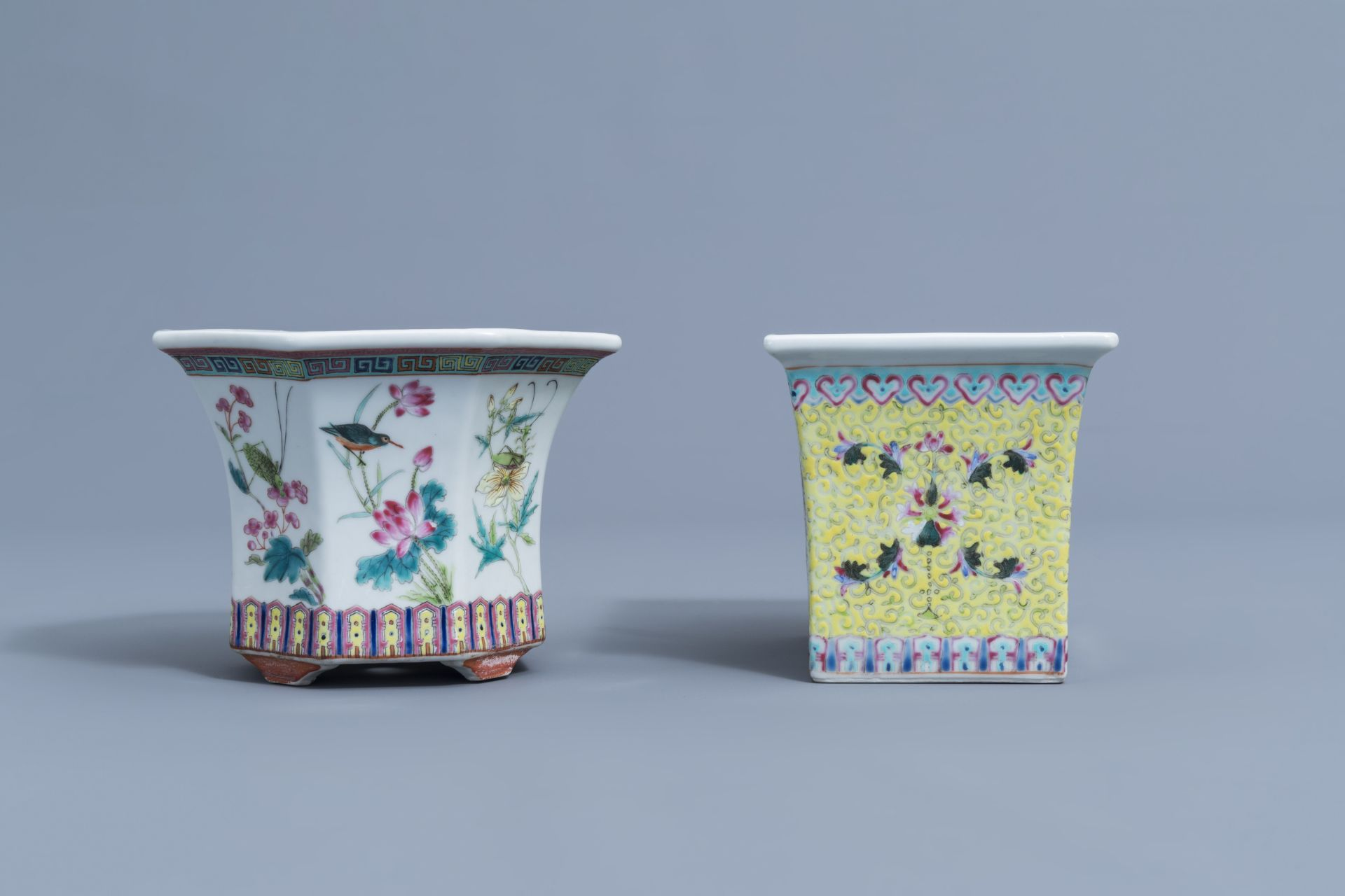 Two Chinese famille rose jardinires and a bowl with floral design, 20th C. - Image 5 of 15