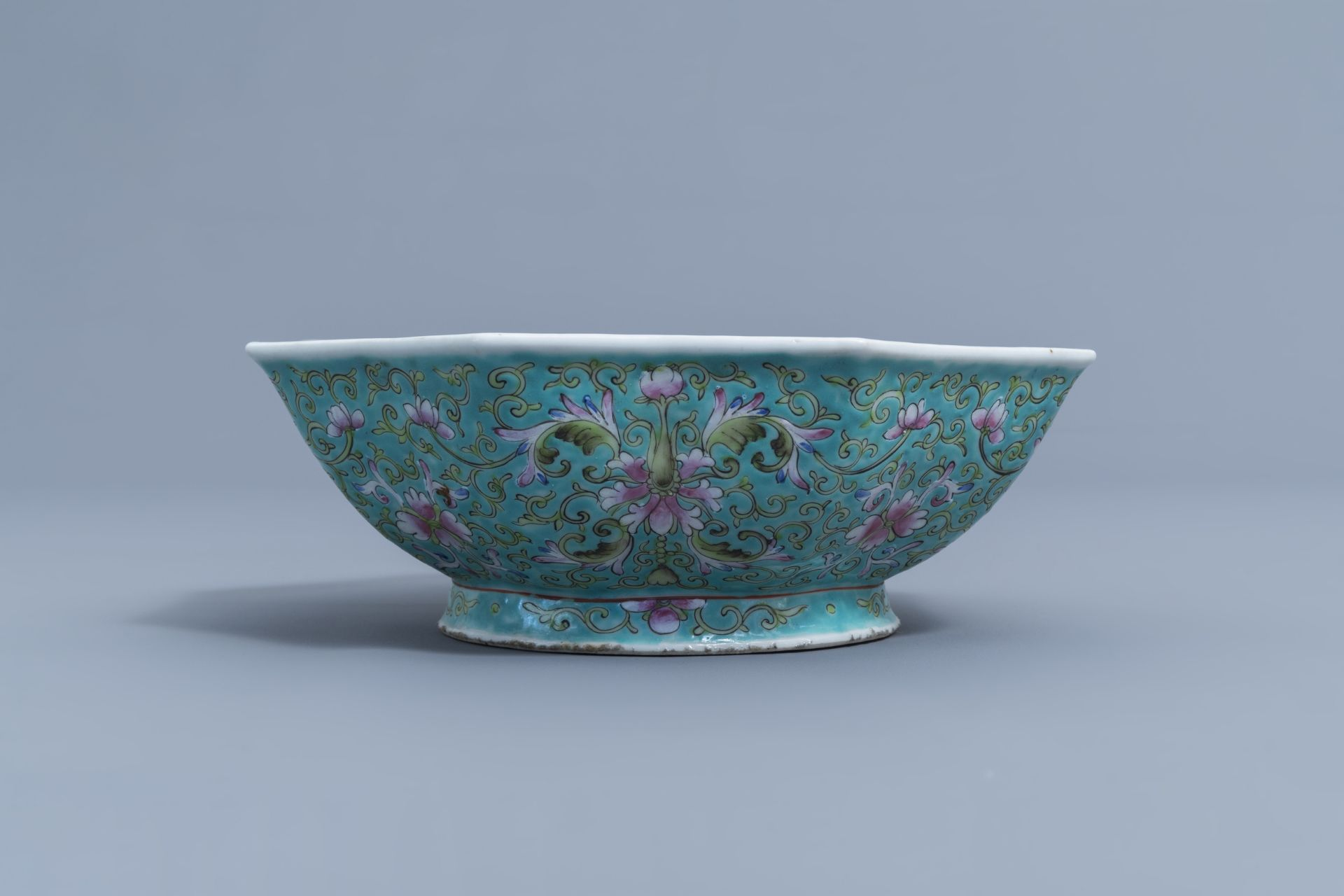 Two Chinese famille rose jardinires and a bowl with floral design, 20th C. - Image 12 of 15