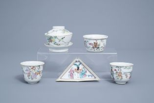 A Chinese five-piece famille rose tea service, 19th/20th C.