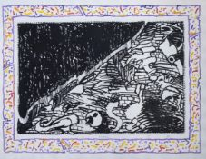 Pierre Alechinsky (1927): Composition from the portfolio 'Sans l'ecorce', etching and aquatint, 1991
