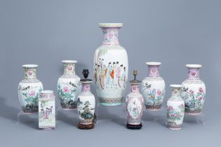 A varied collection of nine Chinese famille rose vases, 20th C.