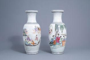 Two Chinese famille rose vases with Immortals and ladies, Qianlong mark, Republic, 20th C.