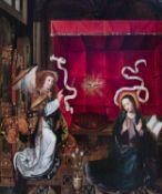 Flemisch school, after Hugo van der Goes (1440-1482): The Annunciation, oil on panel, 17th C.
