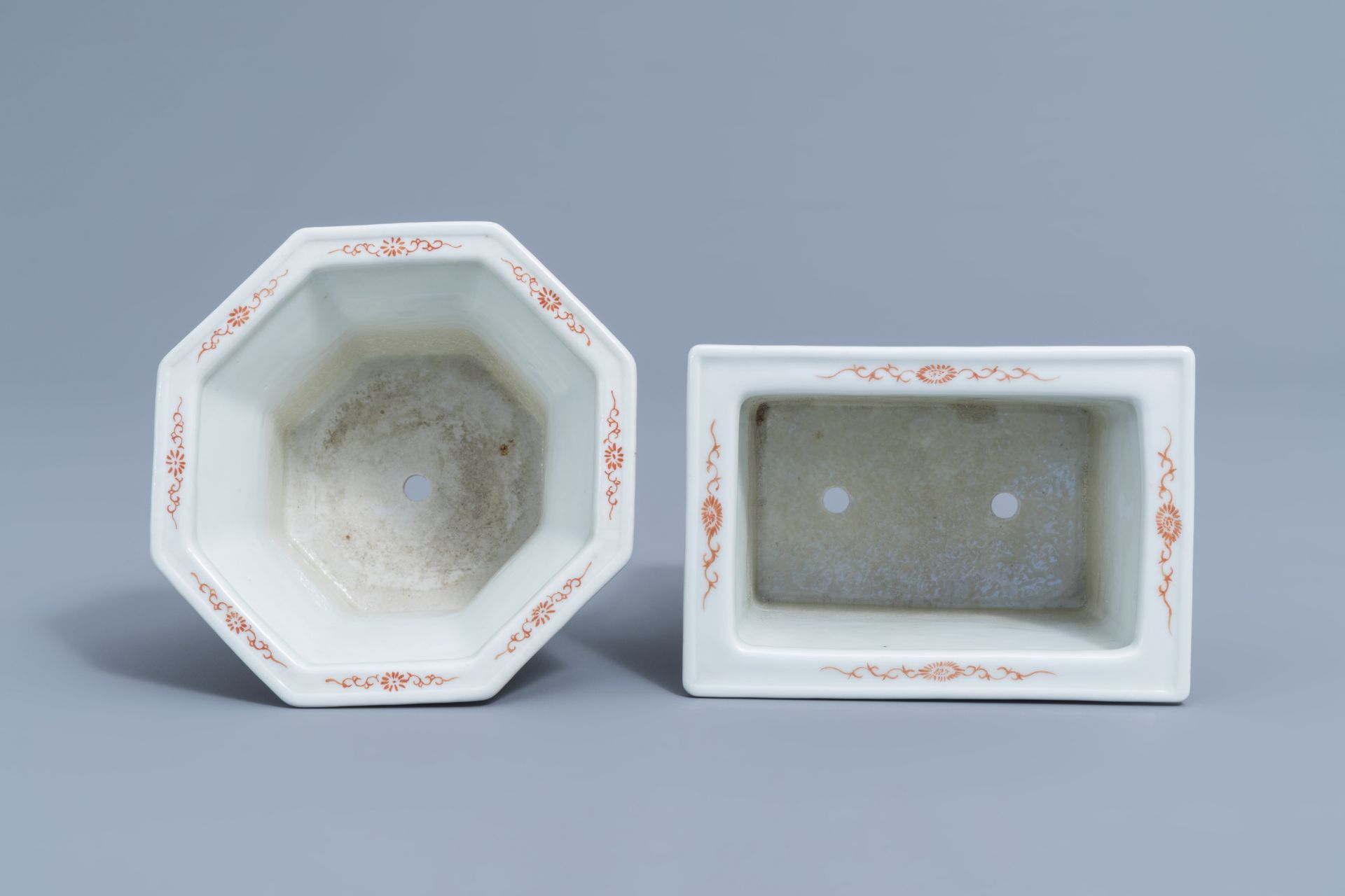 Two Chinese famille rose jardinires and a bowl with floral design, 20th C. - Image 6 of 15