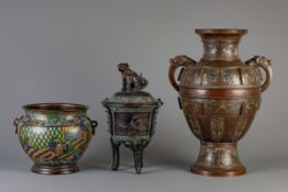 A Japanese vase, a censer and a jardiniere in champleve and cloisonne, Meiji, 19th/20th C.