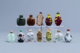 Twelve Chinese glass and hardstone snuff bottles, 20th C.