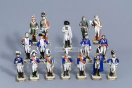 Sixteen figures from Napoleon's army in polychrome Saxon porcelain, Scheibe-Alsbach mark, 20th C.