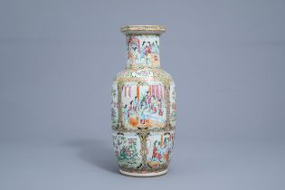 A Chinese Canton famille rose vase with floral design, 19th C.