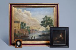 European school: Three various paintings, various techniques, 18th C. and later